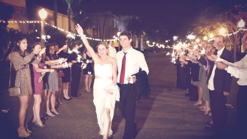Bride-and-groom-with-sparklers