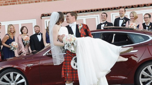 Tesla Model S Wedding Car