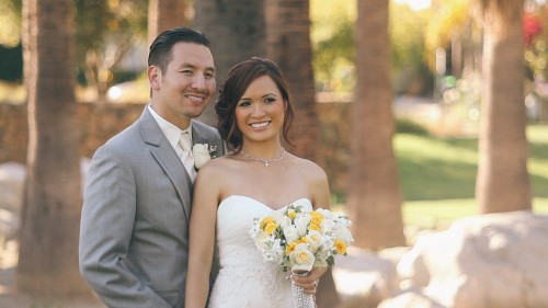 Bride and Groom in San Diego Prk