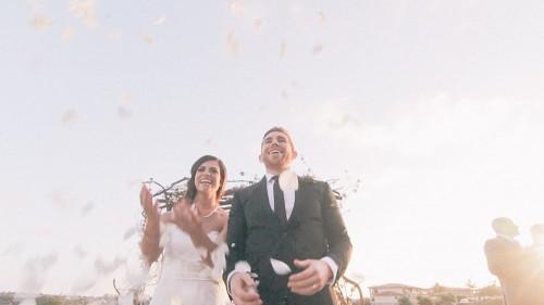 Bride, falling flowers
