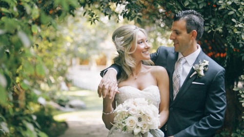 Bride and Groom at Twin Oaks Garden Estate