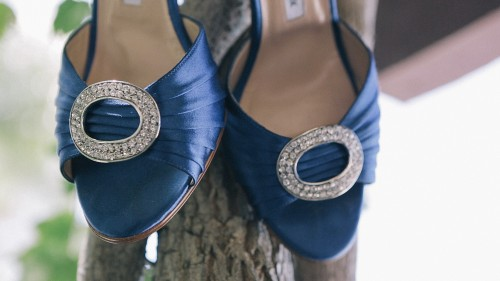 Brides blue wedding shoes