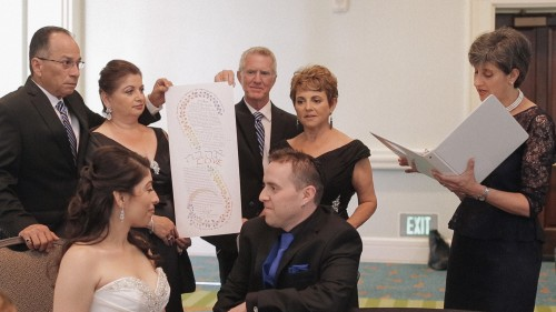 Signing the Ketubah Jewish wedding san diego