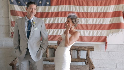 Bride and groom American Flag.Condor's Nest Ranch Wedding