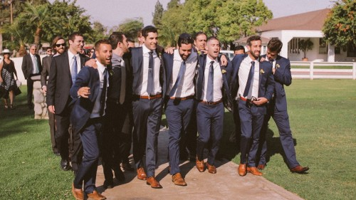 Groomsmen come and get the bride at jewish wedding