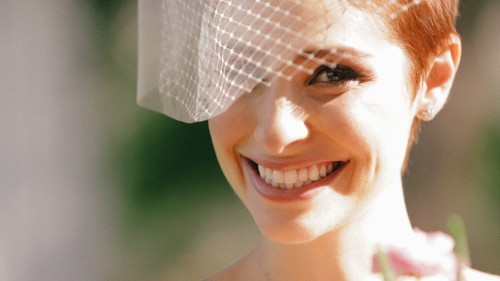 Close up of bride in bird cage veil