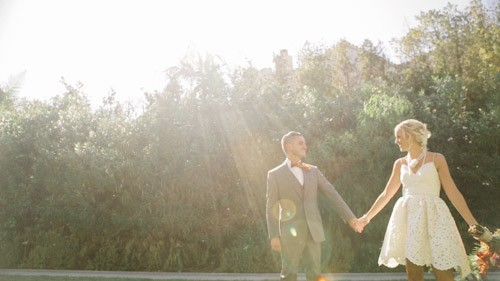 bride and groom in sunlight