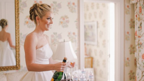 Bride with Champagne La Jolla wedding Video
