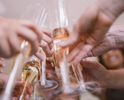 la jolla champagne toast bridesmaids wedding