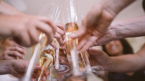 la jolla champagne toast bridesmaids wedding