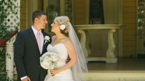 Bride and groom in Twin Oaks House & Garden Estate