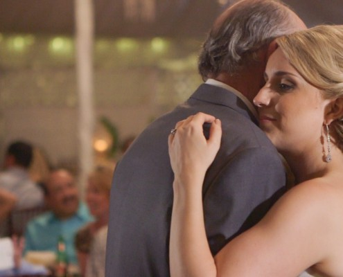 Bride dances with father at Twin Oaks Garden Estate
