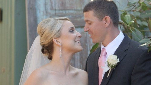 Bride and groom at Twin Oaks House & Garden Estate