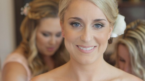 Bride looks into camera