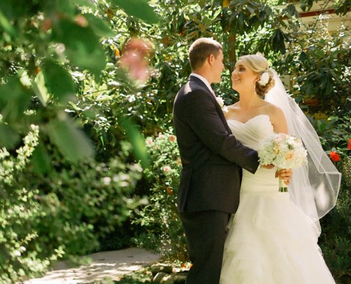 San Diego Wedding Video Bride and Groom kiss at Twin Oaks Gardens and Estate