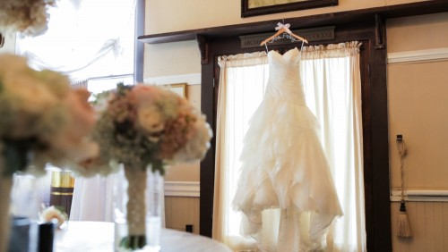 Wedding dress details San Diego Wedding Video at Twin Oaks Gardens and Estate