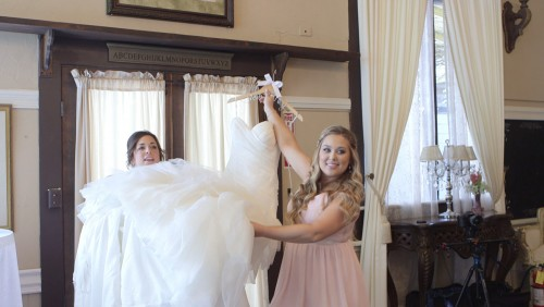 getting in the wedding dress