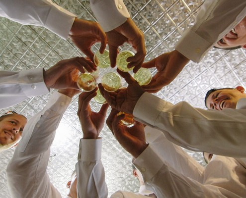View from bottom as groomsmen toast at Twin Oaks Garden Estate