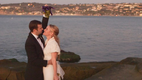Bride and groom at La Jolla Cove