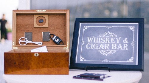 Whiskey and Cigars at wedding