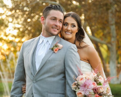 Bride and groom at sunset at Lake Oak Meadows Wedding video