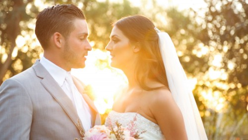 Bride and groom at sunset Temecula wedding video