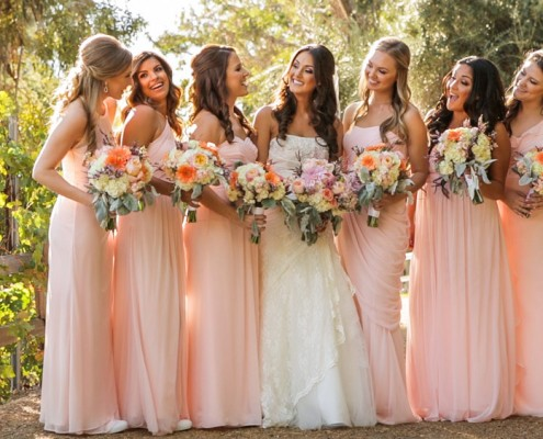 Bride and bride's maids at Lake Oak Meadows Wedding video in temecula wine country from wedding video.