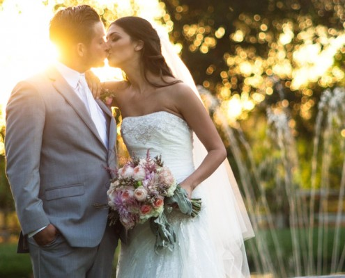 Bride and groom at sunset at Lake Oak Meadows Wedding in temecula wine country