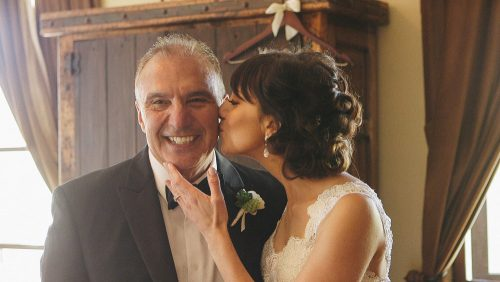 Bride gives Dad a kiss before wedding