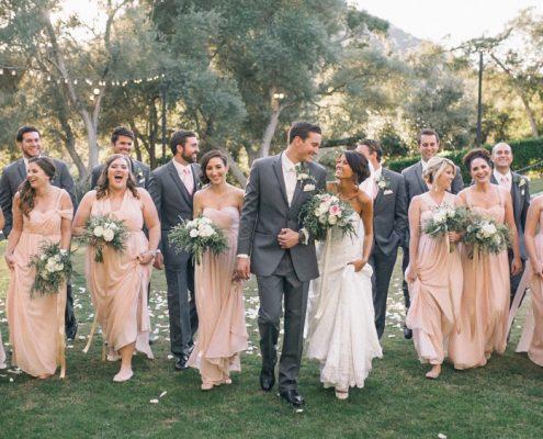 bridal party walking at Mt. Woodson Castle