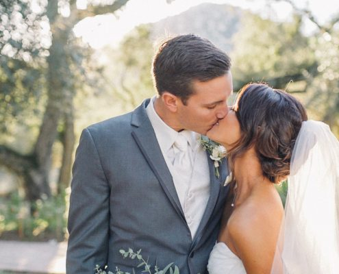 Mt Woodson Wedding Video bride and groom kiss after ceremony