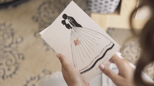 Bride reads card