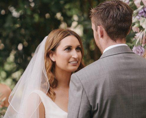 Bride's wedding vows at San Diego Botanical Gardens wedding