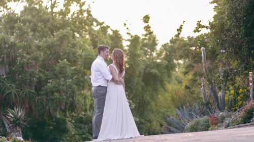 Bride and groom together in wedding video at San Diego Botanical Gardens