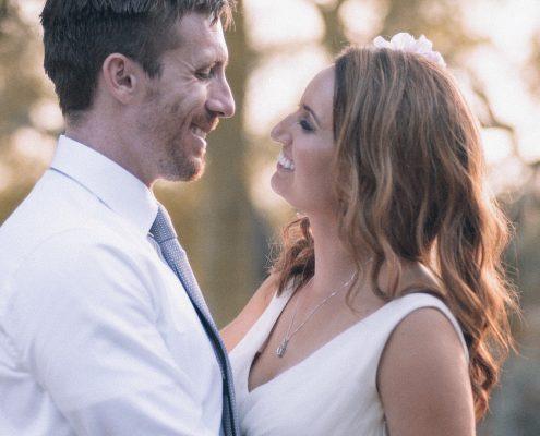 Bride and groom together after wedding