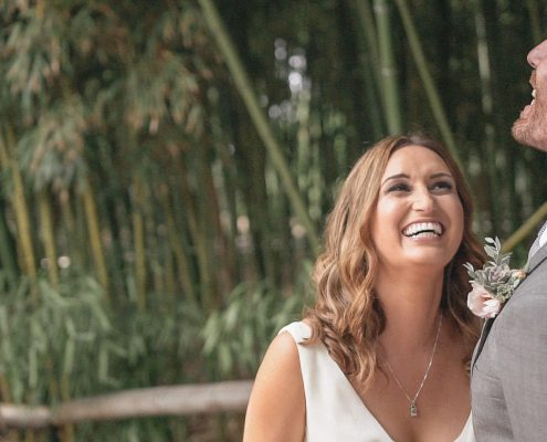 happy bride and groom at San Diego Botanical Gardens