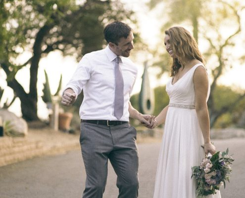 bride and groom celebrate at San Diego Botanical Gardens wedding
