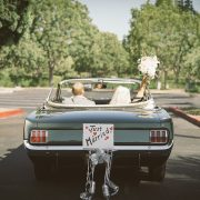 bride and groom vintage ford mustang