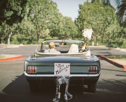 bride and groom vintage ford mustang