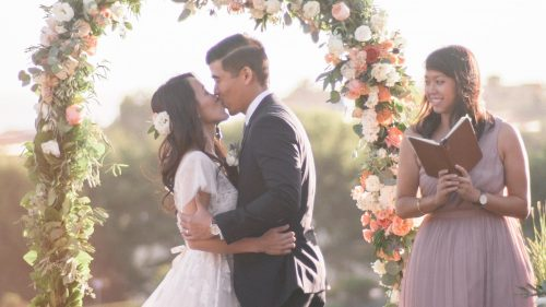 Bride and Groom kiss at ceremony