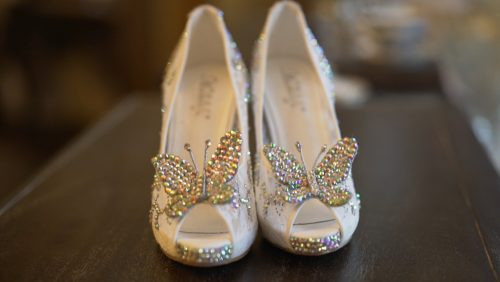 brides cute butterfly shoes