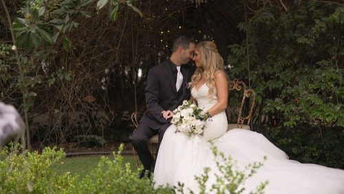 bride and groom at Twin Oaks House & Gardens
