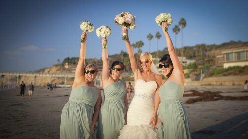 Scripps Seaside Forum brides maids hold up bouquets