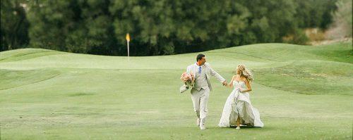 Temecula Creek Inn Wedding video of bride and groom walking.