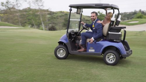 San Diego Wedding Video bride and groom get crazy in golf cart