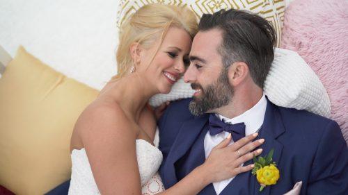 San Diego Wedding Video bride and groom lounge on wedding decor