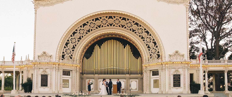 Balboa Park Wedding Video at Spreckels Pavilion in San Diego.