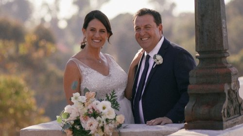 Bride and groom on the bride at balboa park in San Diego wedding video