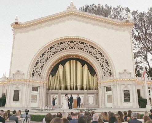 Bride and groom wedding at Spreckels Organ Pavilion in Balb