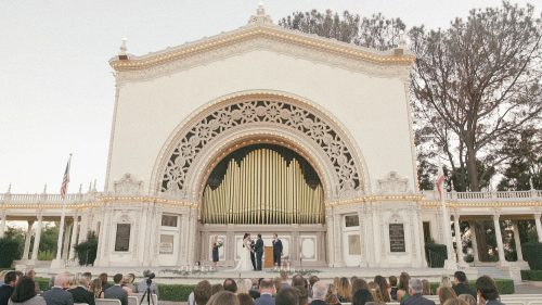 Bride and groom wedding at Spreckels Organ Pavilion in Balb